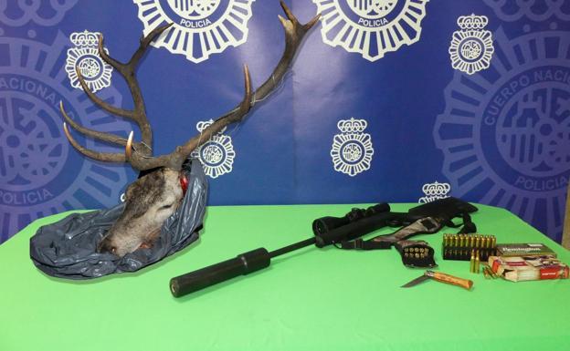 Sorprendidos Con La Cabeza De Un Ciervo Y Un Arma En El Maletero