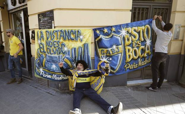 La peña de Boca Juniors en Madrid.
