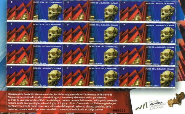 El Museo de la Evolución Humana, protagonista de un sello emitido por Correos